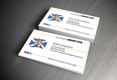 Business cards for Scotland Against Spin