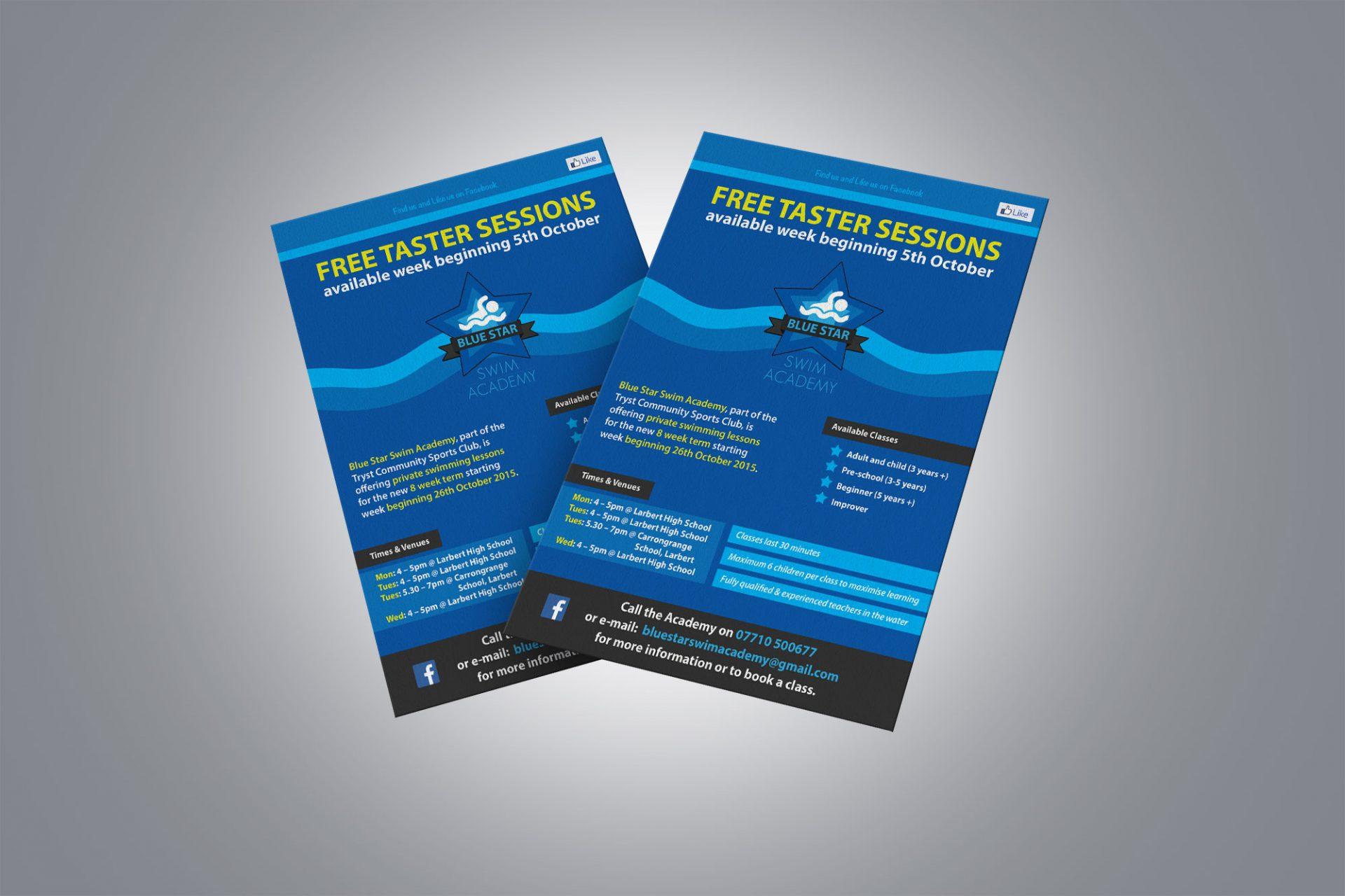 A5 Flyer for Blue Star Swim Academy