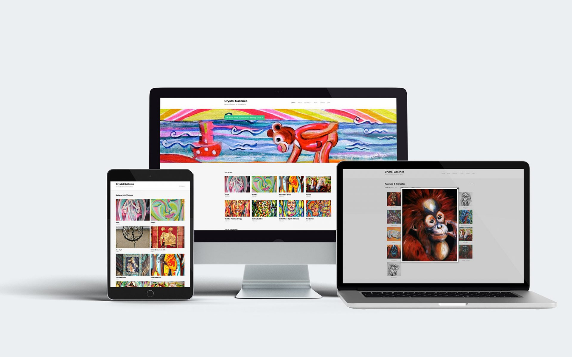 Web design for Crystal Galleries