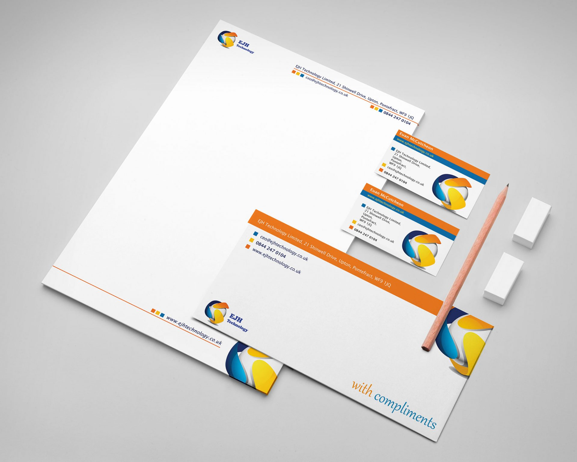 Office stationary branding for EJH Technology