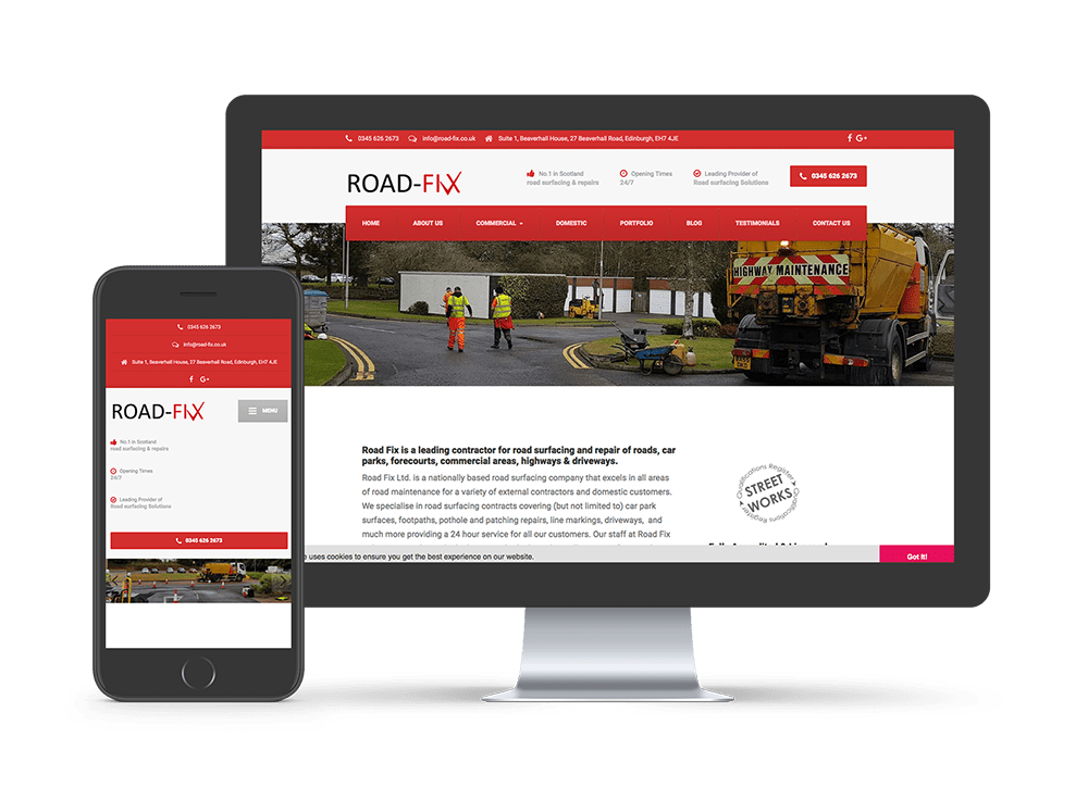 Road Fix website on computer