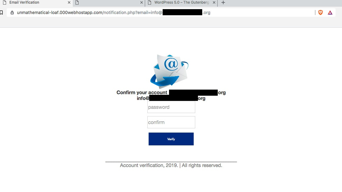 Phishing login screen