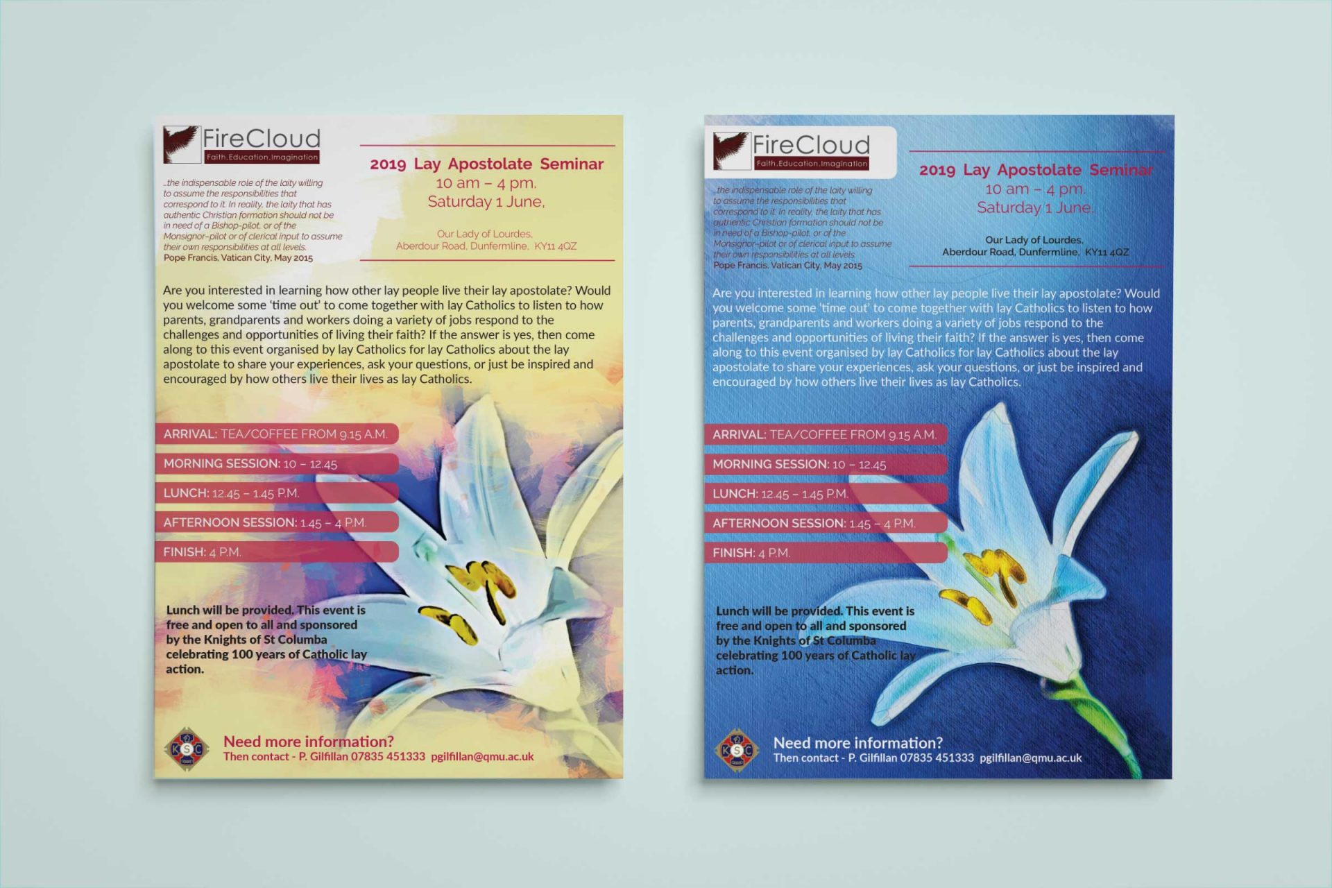 A5 flyer design for Knights of Columba
