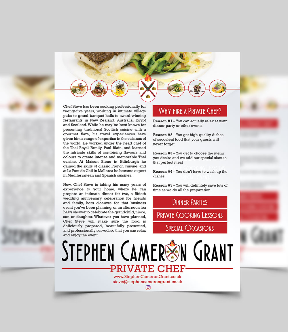 A5 flyer for Stephen Cameron Grant