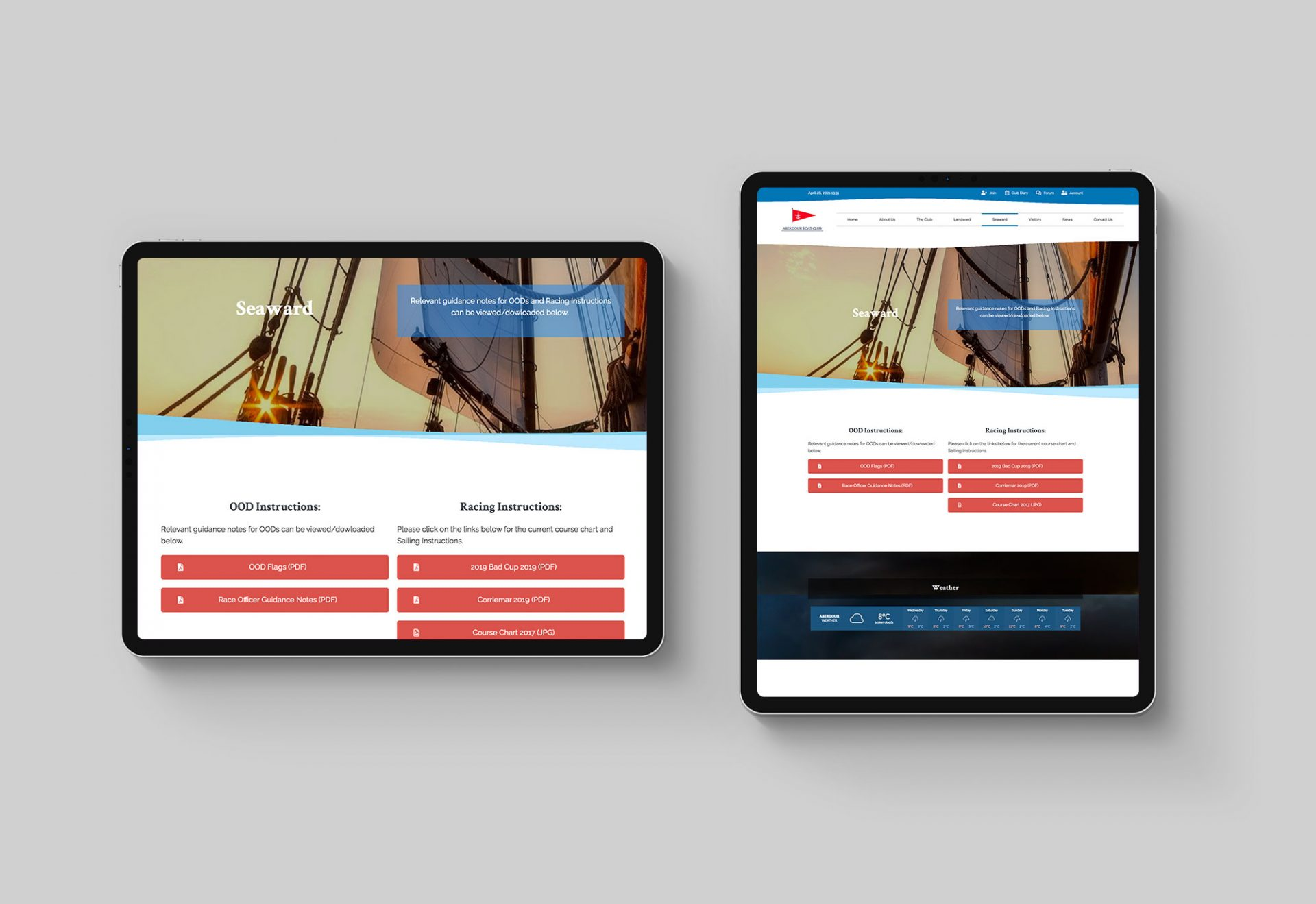 Aberdour Boat Club - Website screenshots